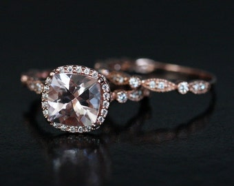 Morganite Wedding Ring Set in 14k Rose Gold with Morganite Cushion 7mm and Diamond Halo and Band