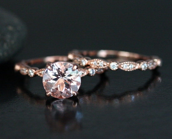 morganite wedding ring set in 14k rose gold with morganite - 14k Gold Wedding Ring Sets