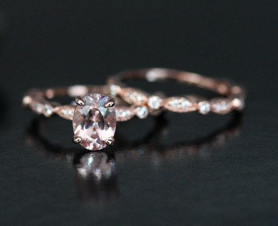 Limited Time SALE Dollar 200 OFF Wedding Ring Set 14k Rose