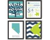 Nautical Nursery Art Set of 4 - CHOOSE IMAGES & COLORS - Sea animals, Nautical Birth Announcement, Ocean Art, New Baby Gift, Nautical Stripe