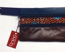 Leather Brown Fanny bag mix with denim and African print/Sac banane brun en cuir, denim et tissus africain.