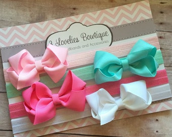 Baby Headband..4 Bow Headbands..Bows..Newborn Headband..Baby Girl Headband.Bow Headband..Baby Headband..Toddler Headband..Infant Headband