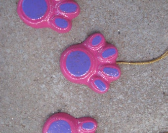 Dog Paw Prints - Set of 3 Pink & Purple