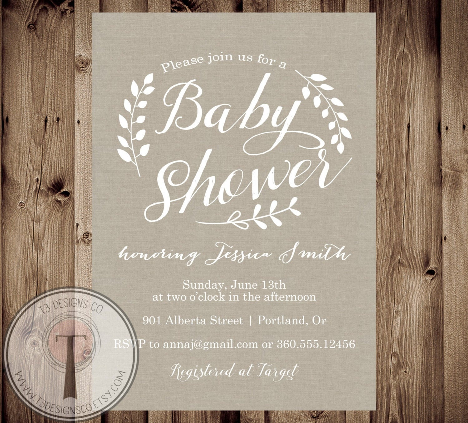 rustic baby shower invitation baby shower inviteburlap