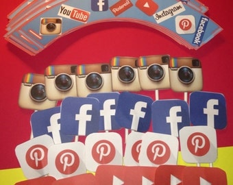Social Media Cupcake Wrappers and Toppers