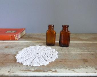Bottles medicine pair of old vintage amber glass rustic bud vases miniatures home decor