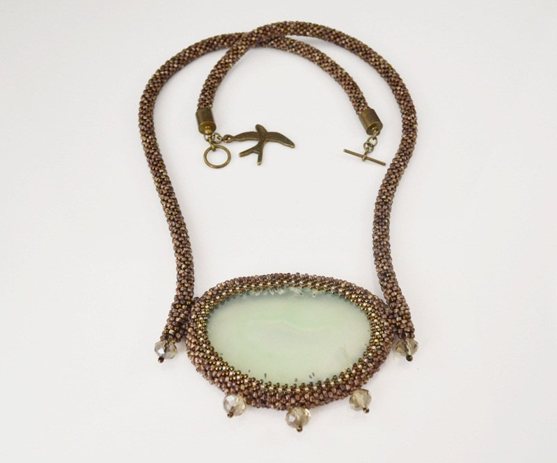 Tree bark bead embroidery necklace beadwork with agate gift
