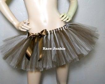Brown and Ivory Running Tutu. Hot Chocalate. Coffee Run. Running Costume. Halloween Costume. ( 9 inch Lnegth) Race Junki