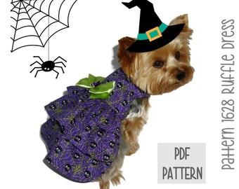 Halloween Dog Dress SEWING PATTERN * 1628 Ruffle Dog Dress * Dog Harness Dress * Pet Dress * Dog Apparel * Dog Halloween Costume