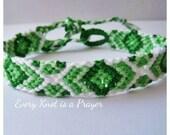 Friendship Bracelet, Macrame, Woven Bracelet, Wristband, Knotted Bracelet - Green, Light Green, White Degrade Ombre