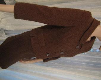 Vintage Rich Brown Nubby Wool Suit, ca 1950s