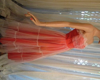 Vintage Ethereal Deep Peach Satin and White Tulle Strapless Gown, ca 1950s