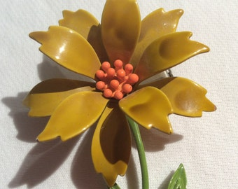 Vintage Pin Enamel Flower Gold with Orange Center Brooch