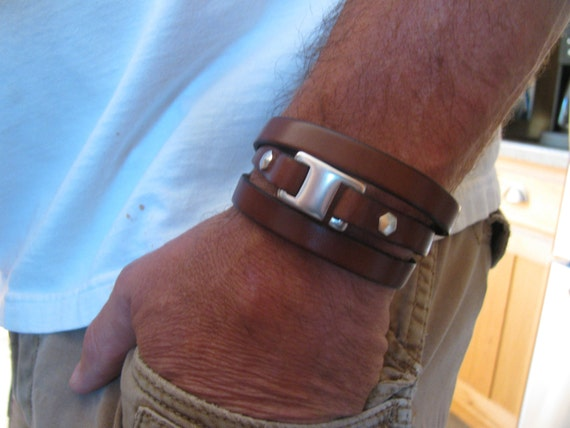 Back In Stock!! Men's Brown  Leather Bracelet-Genuine Italian Leather Wrap Bracelet- Triple Wrap