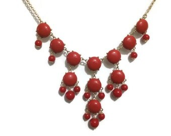 Medium Size Bubble Red Bubble Necklace Red Bauble Necklace Red Statement Bib Necklace Chunky Designer Inspired Bridesmaid Gift Red Necklace