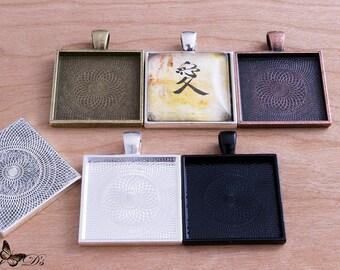 5- 1 inch Square Pendant Trays - Blank Bezel Cabochon - Shiny - Antique - Vintage - 5 Colors - Mix N Match