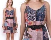 90's Patchwork Mixed Prints Ethnic Floral Rayon Hippie Boho Grunge Revival Vintage Summer Sundress Mini Dress Small