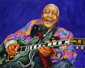 B.B King Large Watercolor Painting-The Thrill Will Never Be Gone