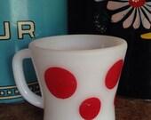 seeing red! hard to find vintage federal glass red polka dot mug.