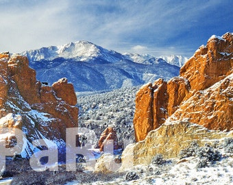 "13""by19"" Fine Art Print of New Snow on Pikes Peak   -   Garden of the Gods, Colorado USA"