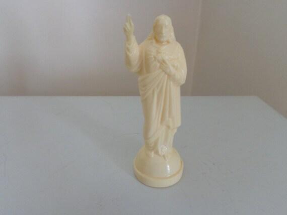 Vintage Sacred Heart Of Jesus Plastic Statue 1960 S
