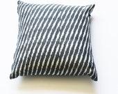 Square Toss Pillow- Grey Ikat Zebra Stripe- Handwoven- 20x20 Throw Pillow