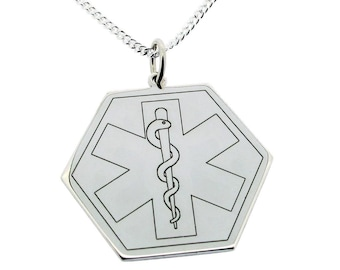 Sterling Silver Medical Alert Medic Cross Hexagon Pendant or Necklace - Medic Symbol with Free Personalised Engraving & Chain Option