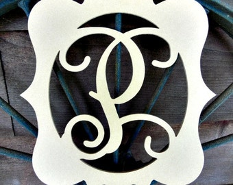 Unfinished KATIE Framed MONOGRAM Letter (P), Paintable, Wooden