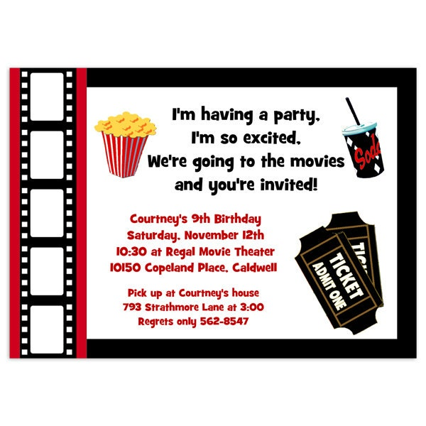 printable movie party invitation movie night invitation. Black Bedroom Furniture Sets. Home Design Ideas