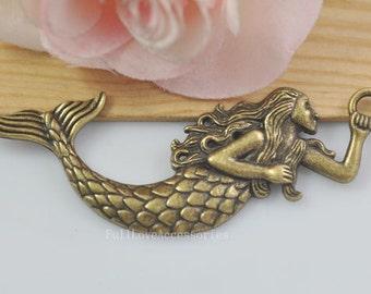 5pcs Mermaid Charms, 29x76mm Antique Brass Tone Mermaid Charms Pendant, sea-maid charms