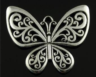 5pcs 48x54mm Vintage Style Antique Silver Butterfly Charms Pendants, Antique Silver Butterfuly Charms Connector