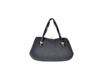 50s Black Bag /  Felt Wool Purse / Vintage Purse / 1950s Purse / Women Bags Purses Handbags