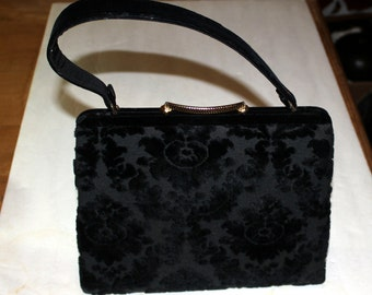 1950s 60's Handbag Purse Black Chenille with mirror & comb