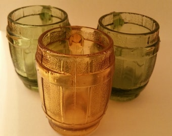 Three Vintage Mug Shot Glasses Amber and Green