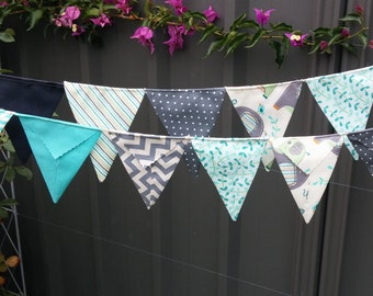 Elephant bunting - Handmade bunting, flags or banner for child's bedroom, baby shower, nursery in greys and aqua