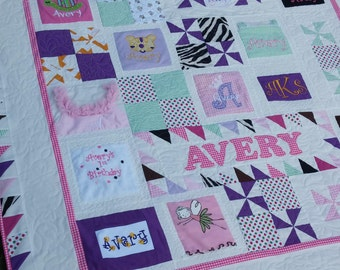 Memory quilt - keepsake, heirloom - precious baby clothes into a beautiful quilt full of treasured memories - Made to Order