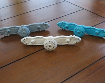 Shabby Chic Drawer Pulls/ Dresser Knobs/Creamy White, Light Grey and Turquoise or Pick your Color/Cottage Chic dresser pulls