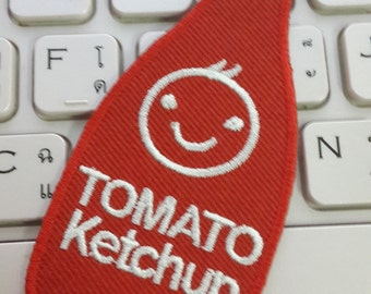 Tomato Ketchup Iron on patch - Tomato Ketchup Applique Embroidered Iron on Patch