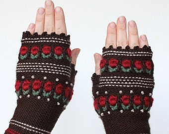 Knitted Fingerless Gloves, Roses, Brown, Clothing And Accessories, Gloves & Mittens, Gift Ideas, For Her,