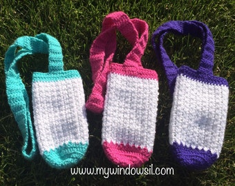 Crochet Sparkle Water Bottle Holder, Sparkle White, Water Bottle Pouch, Hiking Buddy, Water Pocket, pink, blue, puple