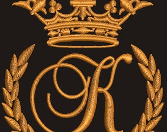 """Crown, laurel wreath and the monogram letter """"k"""" - Machine embroidery design,   design tested."""