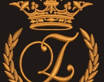 """Crown, laurel wreath and the monogram letter """"Z"""" - Machine embroidery design,   design tested."""