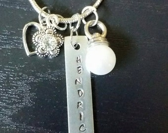 Personalized Handstamped Charm Necklace