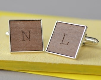 Personalised Engraved Cufflinks - Wooden Cufflinks - Custom Cufflinks - Monogrammed - Initial Design - Men's Accessories - Monogram Cufflink