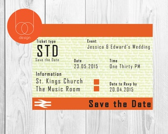Train Ticket themed Save the Date Card