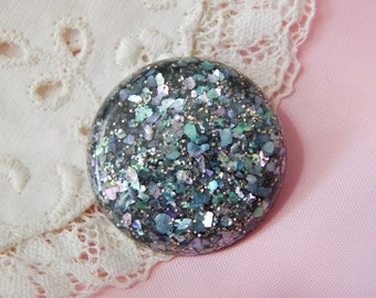 Acrylic Plastic Button with Embedded Mulitcolor Glitter