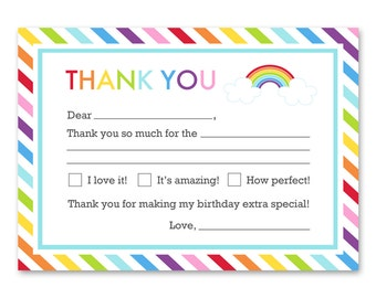 Rainbow Birthday Party - Fill in Blank Thank You Card - Rainbow Party Printable - INSTANT DOWNLOAD
