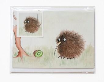 Kiwi Bird Stationery Set, Cute Bird, Notecards and Stickers, Birds, Animals