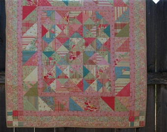 Small Scrappy Pastel Blue, Pink, Green, and Yellow Lap-Size Quilt