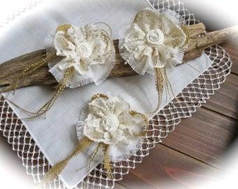 Shabby Chic  Ivory Flowers   Lace Flowers - Rosettes Wedding Decor Set of  of 3